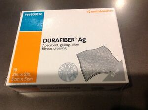 Smith Nephew Durafiber Ag Silver Dressing 2 x2 Ref 66800570 Exp 2018 10pcs
