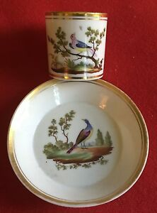 Antique 19th Century Old Paris Porcelain Coffee Can Tea Cup Saucer Bird Locre