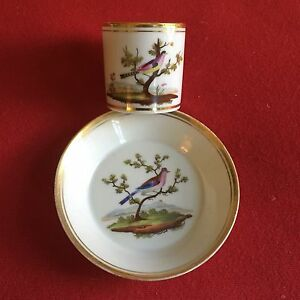 Antique Early 19th C Old Paris Porcelain Coffee Can Tea Cup Saucer Bird Locre
