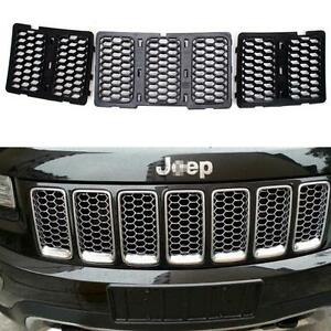 Black Front Honeycomb Matte Mesh Grille Insert For Jeep Grand Cherokee 2014 16 S