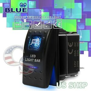 Blue Light Led Light Bar 12v 20a 10a 5 Pin Rocker Toggle Switch Car Boat Atv