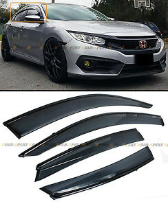 For 16 2020 Honda Civic 4dr Sedan Jdm Smoke Window Visor W Clips
