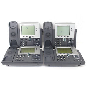 lot Of 4 Cisco Unified Ip Voip Cp7941 g Desktop Phones W Stand For Parts