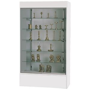 Wall Display Showcase W light 5 Shelves Store Fixture White Ships Assembled New
