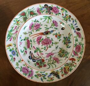 19th C Chinese Export Porcelain Plate Famille Rose Bird Butterfly Soup Bowl