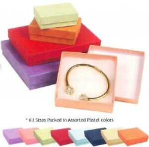 New 100 Assorted Color Cotton Filled Jewelry Ring Earring Gift Boxes 3 1 2