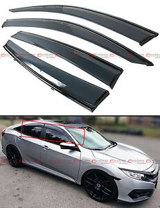For 2016 19 Honda Civic X Fc1 Fc2 Jdm Smoke Window Visor W Clips