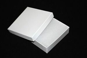 200 White Swirl Cotton Filled Jewelry Craft Bracelet Earring Gift Boxes 3 1 2