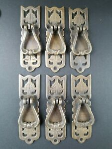 6 Ornate Leaf Victorian Style Brass Pendant Handle Drawer Pulls 3 3 8 H21