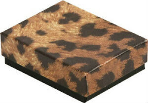 Wholesale 100 Small Leopard Cotton Fill Jewelry Gift Boxes 17 8