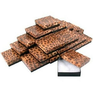 New 100 Leopard Cotton Filled Jewelry Gift Boxes Pendant Charm 3 1 2 X 3 1 2