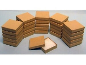 200 Kraft Cotton Filled Jewelry Craft Bracelet Earring Chain Gift Boxes 3 1 2