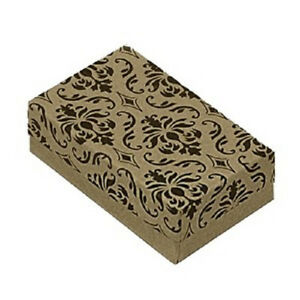 100 Damask Kraft Cotton Filled Jewelry Bracelet Earring Chain Gift Boxes 3 1 4