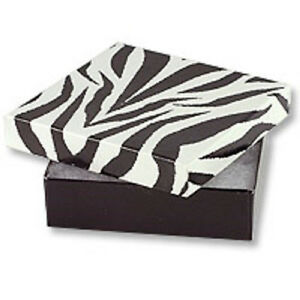 New 100 Zebra Cotton Filled Jewelry Gift Boxes Pendant Charm 3 1 2 X 3 1 2