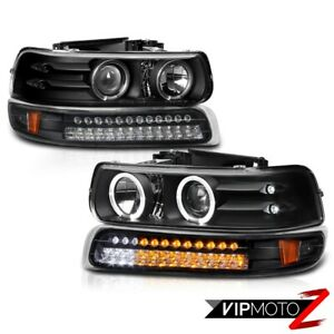 99 02 Silverado 00 06 Suburban Led Parking Lamp Black Angel Eye Headlights Lh rh
