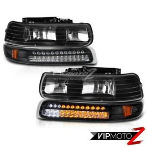 99 02 Silverado Z71 Black Bumper Light Fog Lamps Led Projector super Bright