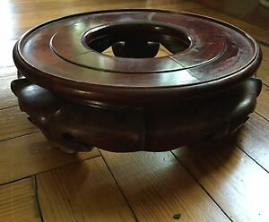 Big Chinese Carved Wood Display Stand Plateau Base Porcelain Fish Bowl Vase Urn
