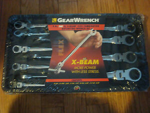 Gearwrench 85298 9 Pc Sae X Beam Flex Head Ratcheting Combination Wrench Set