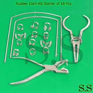 Rubber Dam Kit Starter Of 18 Pcs With Frame Punch Clamps Dental Instrumen Dn 592