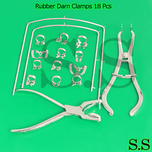 Rubber Dam Clamps 18 Pieces Kit With Frame Rubber Dam Surgical Instrumen Dn 2077