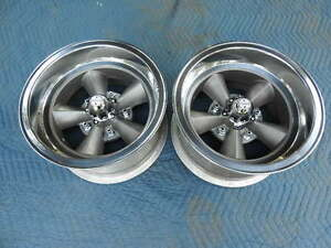 Vintage Pair Polished 15x8 5 Torque Thrust Style 5 On 5 1 2 Ford Pickup Ratrod