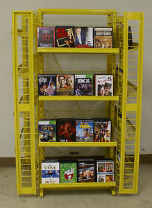 Yellow 4 sided Retail Size Dvd movie game bluray Display Rack Holds 500 Units
