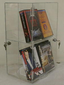 Spinning Double sided Retail Size Dvd movie game bluray Locking Display Case