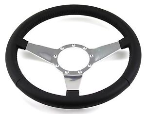 Mustang Steering Wheel Leather Black Flat Spokes 1965 66 67 68 69 70 71 72 73