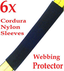 Six 6x 12 Sliding Sleeve Webbing Web Protector For 2 Ratchet Tie Down Strap