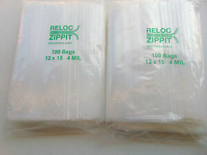 Ziplock Bags 12x15 Clear 4mil Reclosable 200pcs Heavyduty Large Bags 12 x15