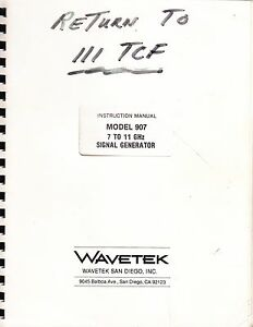 Wavetek Instruction Manual For A Model 907 7 To 11 Ghz Signal Generator 1983