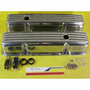 Polished Aluminum Tall Sbc Chevy 57 86 Classic Finned Valve Covers 327 350 400