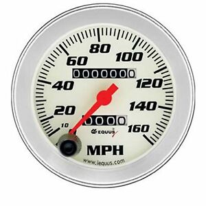Equus 8076 Speedometer 3 3 8 160mph Mechanical White Dial Face In Dash Mounting