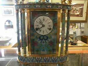 Gilded Chinese Cloisonne Clock Hand Painted Absolutely Stunning