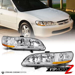 1998 2002 Honda Accord factory Style Chrome Front Headlights Head Lamps Pair