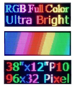 38 x 12 Full Color Semi Outdoor Led Sign Programmable Scrolling Message Board