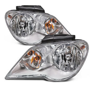 Headlights Pair Halogen Chrome Set For 2007 2008 Chrysler Pacifica