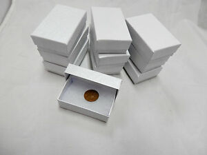 Wholesale 200 Small White Swirl Cotton Fill Jewelry Ring Earring Gift Boxes 17 8