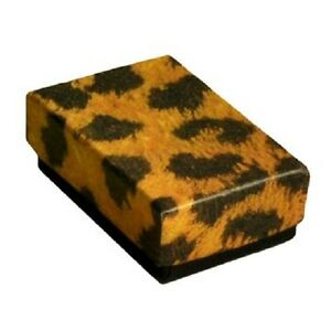 Wholesale 200 Small Leopard Cotton Fill Jewelry Ring Earring Gift Boxes 17 8