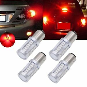 4x Strobe Flashing 1157 Bay15d Red 5630 33smd Led Bulbs Brake Stop Parking Light