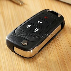 Replace 4 Buttons Car Key Flip Remote Case Shell Fob For Chevrolet Camaro Cruze