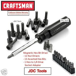 Craftsman 26 Pc Screw And Nut Driver Bit Bits Set With Magnetic Handle New