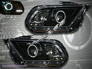 10 11 12 Ford Mustang Ccfl Halo Angel Eyes Projector Headlights Black Style