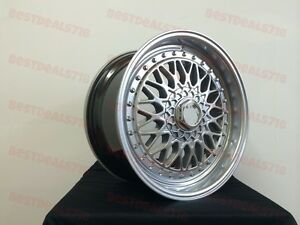 17 Rs Style Hyper Dark Rims Wheels Fits Vw Volkswagen Mk Golf Passat Gli Jetta