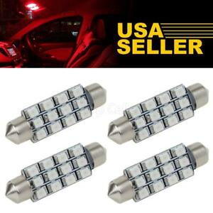 4x Red 12smd 42mm Festoon 578 Led Interior Dome Map Lights Bulbs 12v Replace