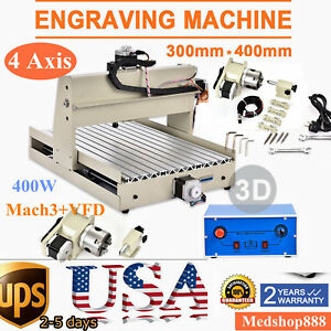 Cnc Router Engraver Engraving Cutting 4 Axis 3040t Machine 3d Cutter 400w vfd