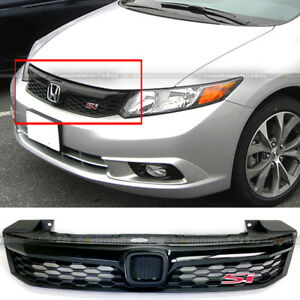 Fit 2012 Civic 4 Dr Sedan Jdm Abs Black Front Bumper Hood Mesh Grille Grill