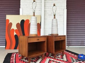 Midcentury Glenn Of California Richard Thompson Pair Architectural Nightstands