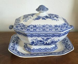 Antique 19th C English Pottery Tureen Platter Blue White Transferware H Co