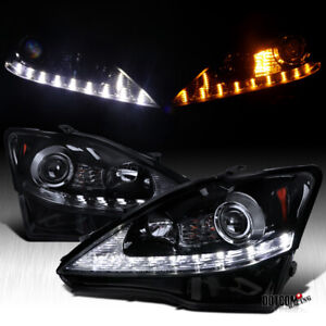 Black Smoke For 2006 2009 Lexus Is250 Led Drl signal Strip Projector Headlights